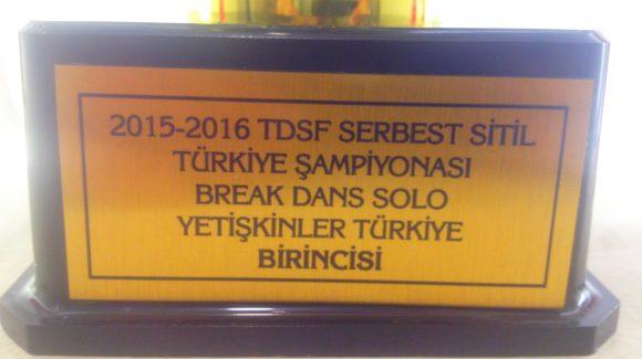 Break Dans'ta 2016 Türkiye Şampiyonluk kupasını kazandık